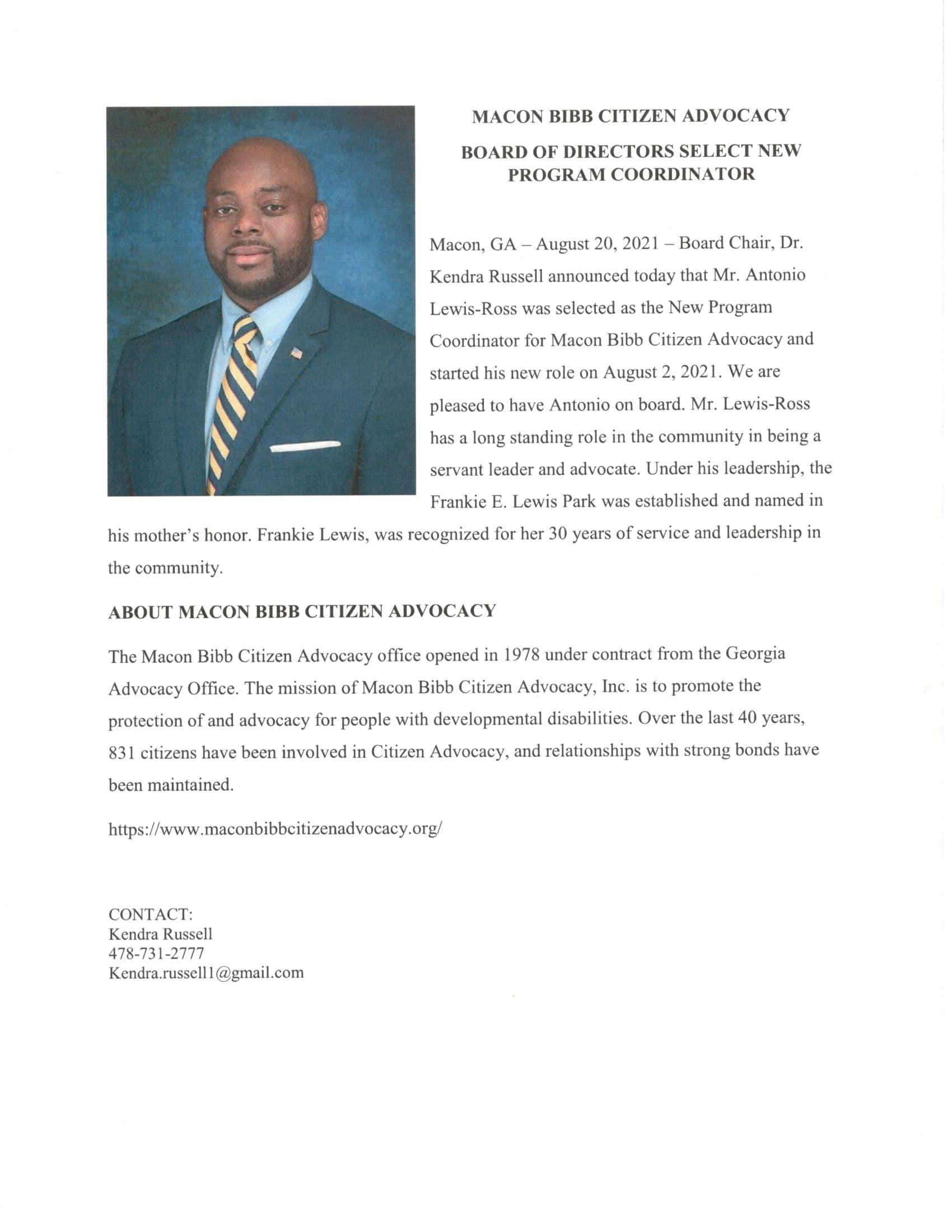 Antonio Press Release